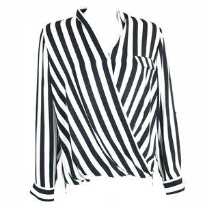 Pleione Black & White Stripe Blouse
